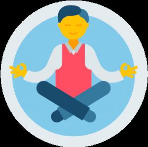 man meditating on blue background icon
